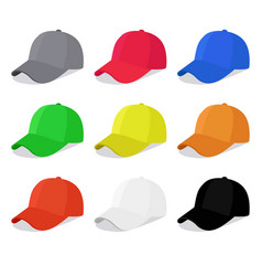 flat caps set with different colors vector image