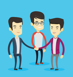 Group of business men joining hands vector