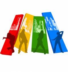 rainbow color hip hop silhouette vector image