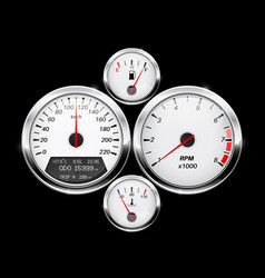 speedometer tachometer fuel and temperature gage vector image vector image