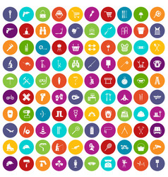 100 tackle icons set color vector