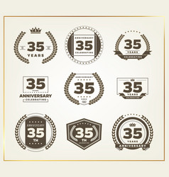 35 years anniversary logo set vector image