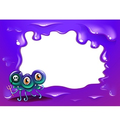 A purple border template with a three-eyed monster vector