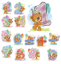 A set with a brown teddy vector