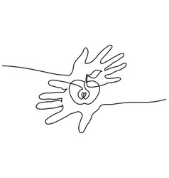 abstract hands holding apple continuous one line vector image