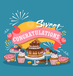 baked cakes cartoon poster vector image