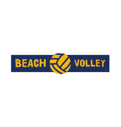 Beach volleyball logo template badge volley sign vector