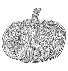 black and white doodle pumpkin vector image