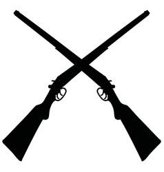black silhouettes two vintage rifles vector image