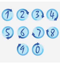 Blue circle hand written brushed numbers set vector image