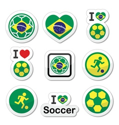 Brazilian flag football or soccer ball icons set vector