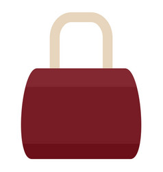 Brown leather bag icon flat style vector