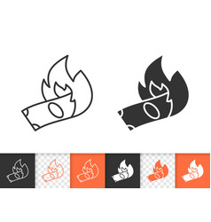 burning money simple black line icon vector image