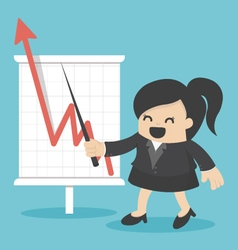 Business woman with business growing graph vector