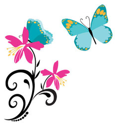 butterflies and flowers 8 vector image vector image