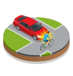 Car accident Bike Accident With a Vehicle Flat vector