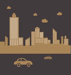 Cardboard urban city background vector