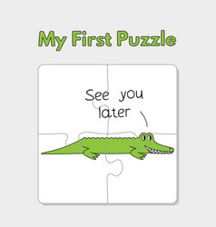 Cartoon alligator puzzle template for children vector