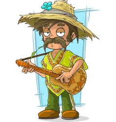 Cartoon farmer in straw hat with vector
