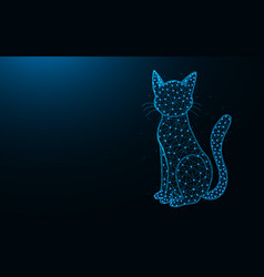 Cat low poly design animal abstract geometric vector