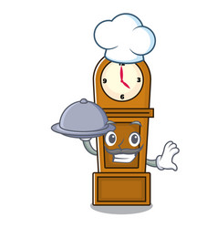 Chef with food grandfather clock mascot cartoon vector