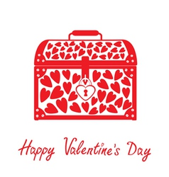 Chest vase with hearts Happy Valentines Day card vector