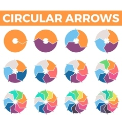 Circular arrows for infographics with 1 - 12 parts vector