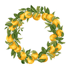 Citrus orange tree ornament wreath with fruits vector