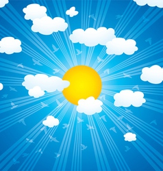 clouds sun rays and flying birds in sky vector image