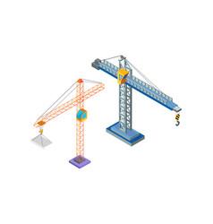 crane industrial machine steel tower hook icons vector image