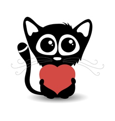 Cute cartoon cat with heart vector