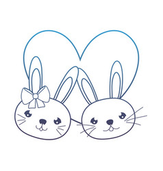 Degraded line cute rabbits couple head with heart vector