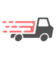 Delivery car chassi halftone dotted icon with fast vector