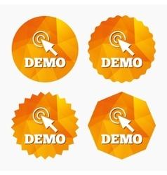 Demo with cursor sign icon Demonstration symbol vector