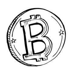 Doodle coin bitcoin drawn with a black vector
