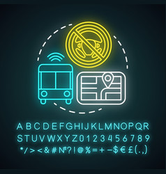 Driverless bus neon light concept icon autopilot vector