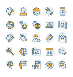 Engineering and manufacturing icon set in thin vector