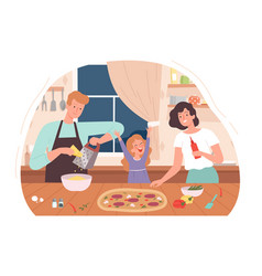 family cooking pizza mother daughter bake dinner vector image