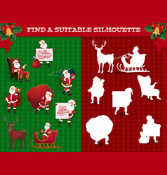 find silhouette game christmas maze with santa vector image