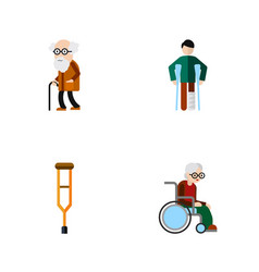 flat icon handicapped set of injured ancestor vector image
