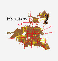 flat map houston city texas roads vector image