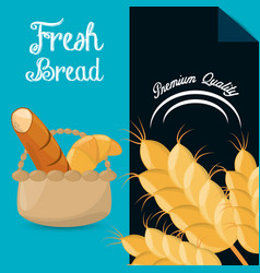 Fresh bread premium quality brochure image vector