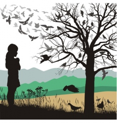 girl and birds vector image