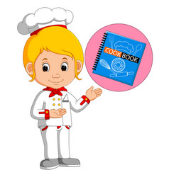 girl chef with cookbook vector image