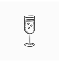 Glass of champagne sketch icon vector image vector image