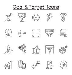 goal target icon set in thin line style vector image