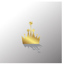 golden crown icon in flat style vector image