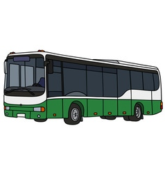 Green and white city bus vector
