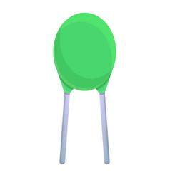 Green capacitor icon cartoon style vector