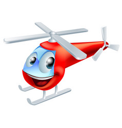 Helicopter cartoon character vector